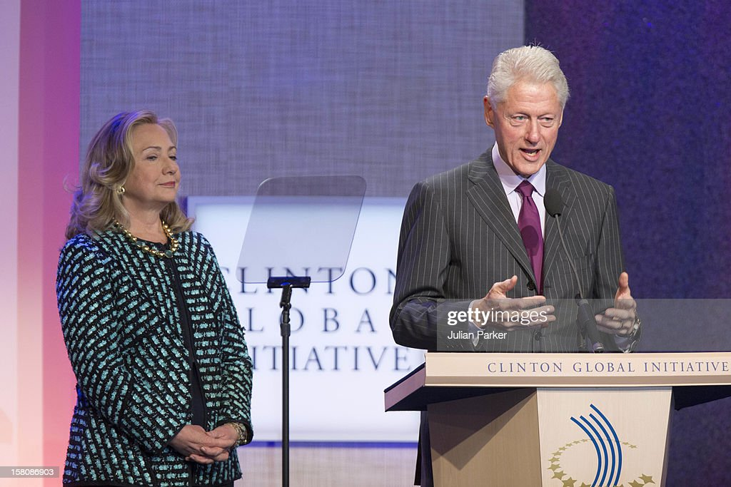 Hillary Clinton And Former Us President Bill Clinton At The Clinton Global Initiative, At The Sheraton Hotel And Towers In New York, Usa. .