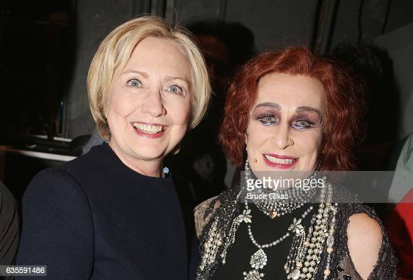 Hillary Clinton and Glenn Close as 'Norma Desmond' pose backstage at the hit musical 'Sunset Boulevard' on Broadway at The Palace Theater on February...