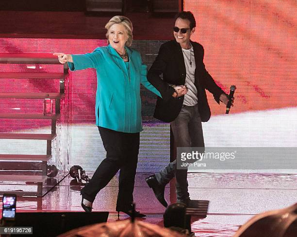 Hillary Clinton and Marc Anthony are seen at the Jennifer Lopez Gets Loud for Hillary Clinton at GOTV Concert in Miami at Bayfront Park Amphitheatre...