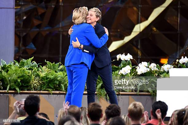 Hillary Clinton and TV show host Ellen Degeneres appear at 'The Ellen Degeneres Show' Season 13 BiCoastal Premiere at Rockefeller Center on September...