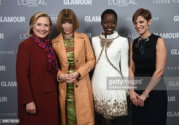 Hillary Clinton Anna Wintour Lupita Nyong'o and Cindi Leive attend the Glamour 2014 Women Of The Year Awards at Carnegie Hall on November 10 2014 in...