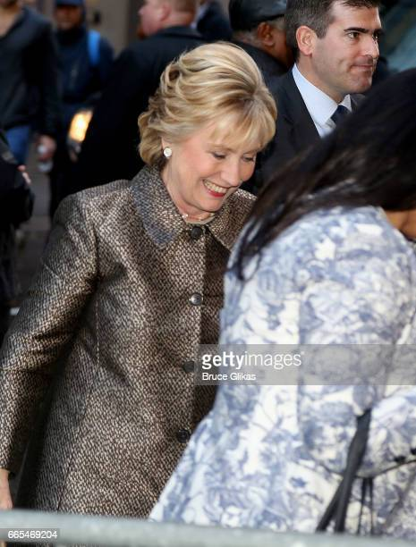 Hillary Clinton arrives at the opening night of the new musical 'War Paint' on Broadway at The Nederlander Theatre on April 6 2017 in New York City