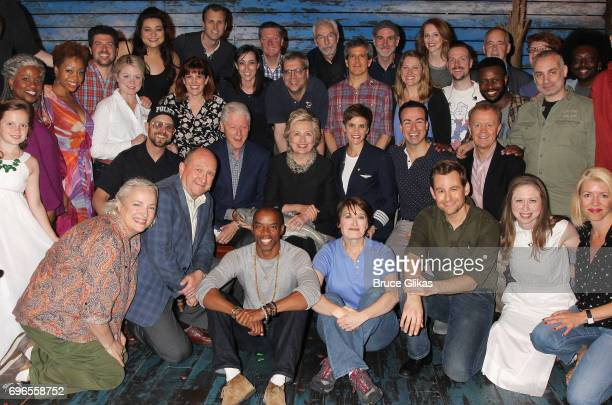 Hillary Clinton Bill Clinton and Chelsea Clinton pose with the cast and creative team backstage at the hit musical 'Come From Away' on Broadway at...
