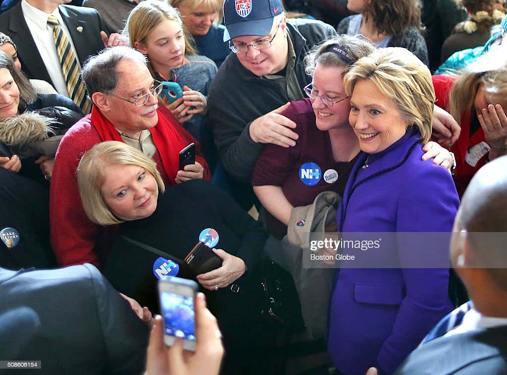 Hillary Clinton campaigned at the Manchester Canvass Kick-Off with Women Leaders at the YMCA in Manchester, N.H., Feb. 5, 2016. She posed for a photo after speaking.