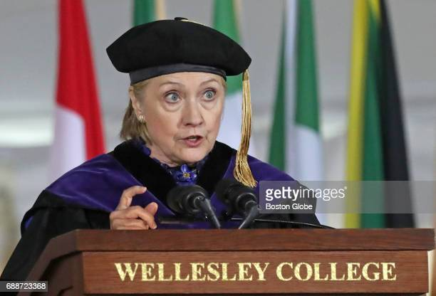 Hillary Clinton delivers a commencement address at the Wellesley College commencement in Wellesley MA on May 26 2017