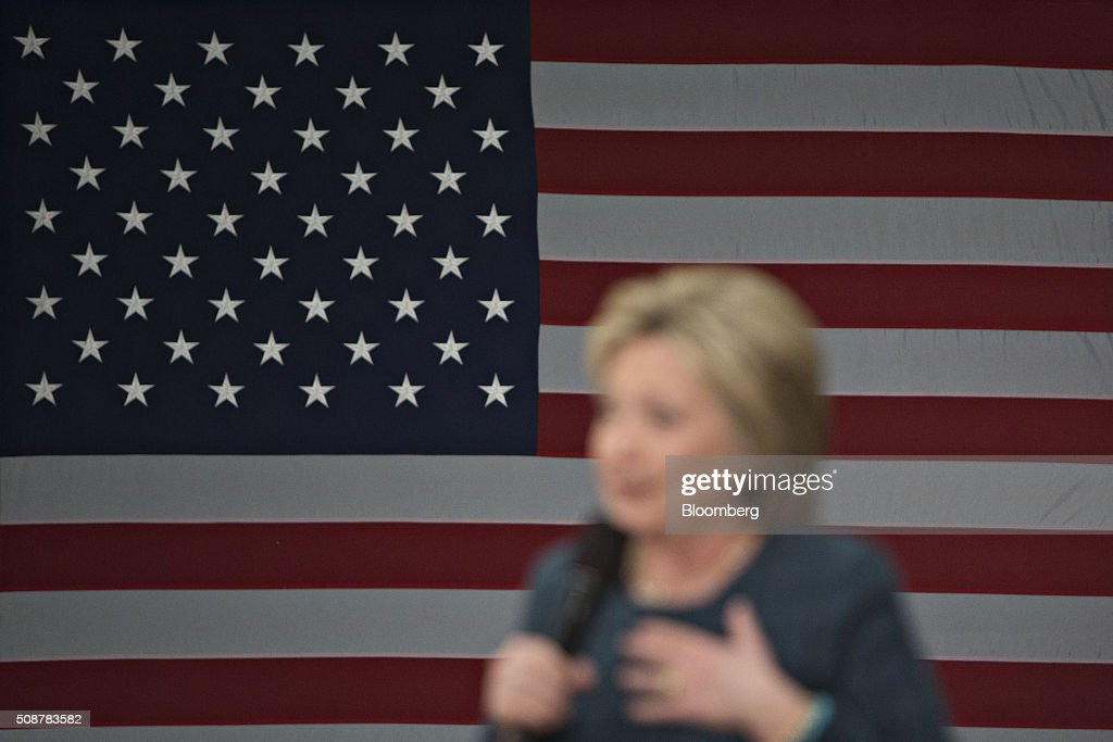 Hillary Clinton, former Secretary of State and 2016 Democratic presidential candidate, speaks during a campaign event in Concord, New Hampshire, U.S., on Saturday, Feb. 6, 2016. Trailing Bernie Sanders in the Democratic contest by 20 percentage points or more in some polls of voters in the state, Clinton recalled that New Hampshire gave her a come-from-behind victory in the 2008 primary race and a dramatic boost to her husband, Bill Clinton, in his first run for the presidency in 1992. Photographer: Daniel Acker/Bloomberg via Getty Images