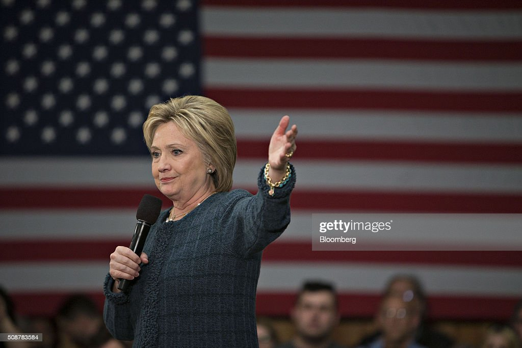 <a gi-track='captionPersonalityLinkClicked' href=/galleries/search?phrase=Hillary+Clinton&family=editorial&specificpeople=76480 ng-click='$event.stopPropagation()'>Hillary Clinton</a>, former Secretary of State and 2016 Democratic presidential candidate, speaks during a campaign event in Concord, New Hampshire, U.S., on Saturday, Feb. 6, 2016. Trailing Bernie Sanders in the Democratic contest by 20 percentage points or more in some polls of voters in the state, Clinton recalled that New Hampshire gave her a come-from-behind victory in the 2008 primary race and a dramatic boost to her husband, Bill Clinton, in his first run for the presidency in 1992. Photographer: Daniel Acker/Bloomberg via Getty Images