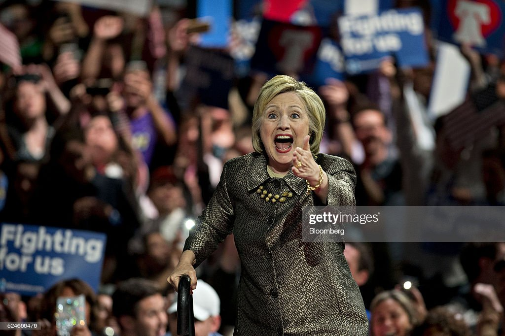 Hillary Clinton former Secretary of State and 2016 Democratic presidential candidate gestures as she arrives to speak during an election night event...