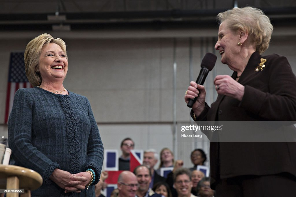 <a gi-track='captionPersonalityLinkClicked' href=/galleries/search?phrase=Hillary+Clinton&family=editorial&specificpeople=76480 ng-click='$event.stopPropagation()'>Hillary Clinton</a>, former Secretary of State and 2016 Democratic presidential candidate, left, smiles as <a gi-track='captionPersonalityLinkClicked' href=/galleries/search?phrase=Madeleine+Albright&family=editorial&specificpeople=211429 ng-click='$event.stopPropagation()'>Madeleine Albright</a>, former U.S. Secretary of State, introduces her during a campaign event in Concord, New Hampshire, U.S., on Saturday, Feb. 6, 2016. Trailing Bernie Sanders in the Democratic contest by 20 percentage points or more in some polls of voters in the state, Clinton recalled that New Hampshire gave her a come-from-behind victory in the 2008 primary race and a dramatic boost to her husband, Bill Clinton, in his first run for the presidency in 1992. Photographer: Daniel Acker/Bloomberg via Getty Images