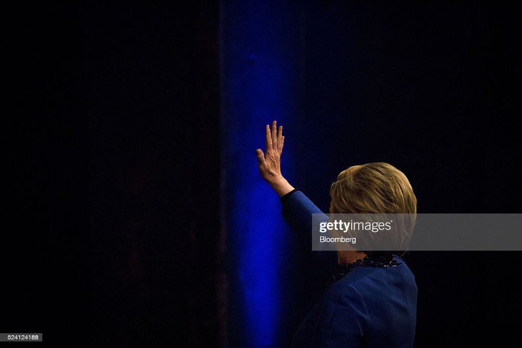 Hillary Clinton former Secretary of State and 2016 Democratic presidential candidate waves to supporters during a campaign event in Wilmington...