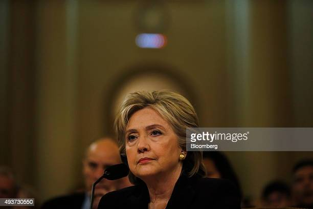 Hillary Clinton former US secretary of state and 2016 Democratic presidential candidate testifies during a House Select Committee on Benghazi hearing...