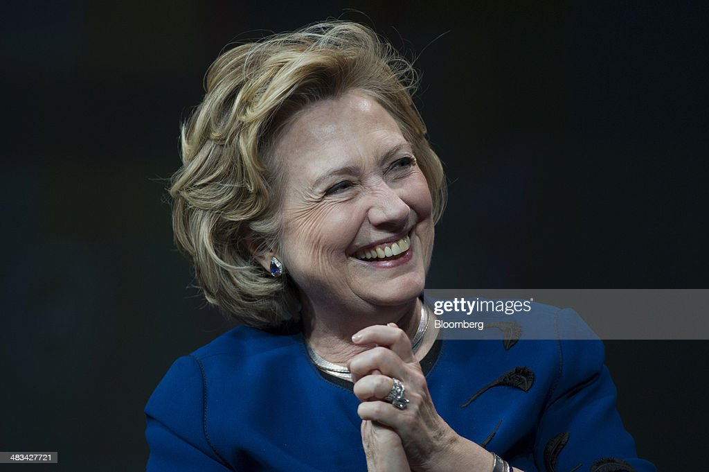 <a gi-track='captionPersonalityLinkClicked' href=/galleries/search?phrase=Hillary+Clinton&family=editorial&specificpeople=76480 ng-click='$event.stopPropagation()'>Hillary Clinton</a>, former U.S. secretary of state, smiles during a keynote session at the Marketo Marketing Nation Summit 2014 in San Francisco, California, U.S., on Tuesday, April 8, 2014. Clinton, who retired last year as secretary of state, has said she will make her decision on a 2016 presidential run later this year. Photographer: David Paul Morris/Bloomberg via Getty Images