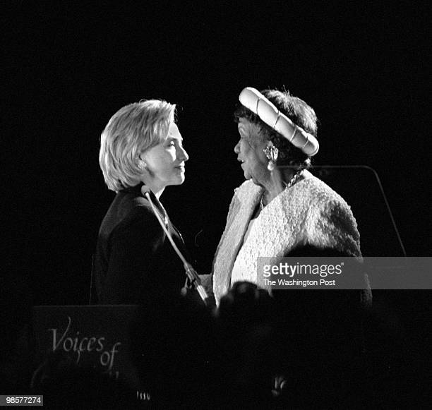 Hillary Clinton greets Dorothy Height on stage after Clinton introduced her during a tribute to Height at the Grand Hyatt Hotel on September 15 1998...