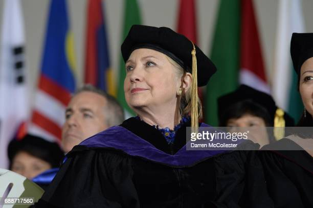Hillary Clinton listens during commencement at Wellesley College May 26 2017 in Wellesley Massachusetts Clinton graduated from Wellesley College in...