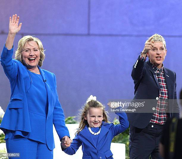 Hillary Clinton Macey Hensley and Ellen DeGeneres attend 'The Ellen DeGeneres Show' Season 13 BiCoastal Premiere at Rockefeller Center on September 8...