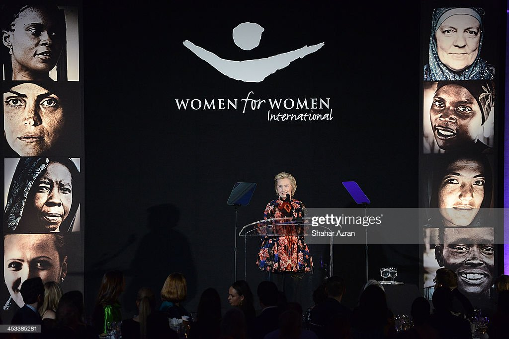 <a gi-track='captionPersonalityLinkClicked' href=/galleries/search?phrase=Hillary+Clinton&family=editorial&specificpeople=76480 ng-click='$event.stopPropagation()'>Hillary Clinton</a> onstage at the Women for Women 20th Anniversary Gala celebration at the American Museum of Natural History on December 3, 2013 in New York City.
