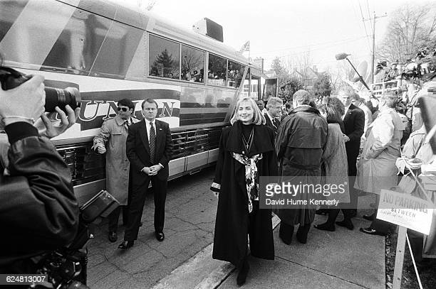 Hillary Clinton prepares to board a bus that will take her Presidentelect Bill Clinton and their entourage from Monticello to Washington DC as part...