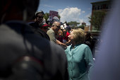 Hillary Clinton presumptive 2016 Democratic presidential nominee greets union strikers outside of the Trump Taj Mahal Casino after a campaign event...