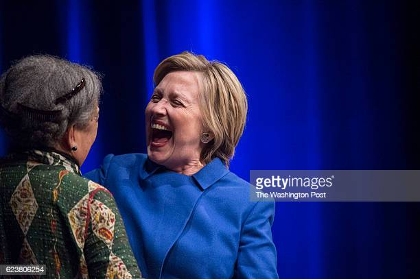 Hillary Clinton shares a laugh with Marian Wright Edelman at a Children's Defense Fund event as she is honored for her contributions and dedication...
