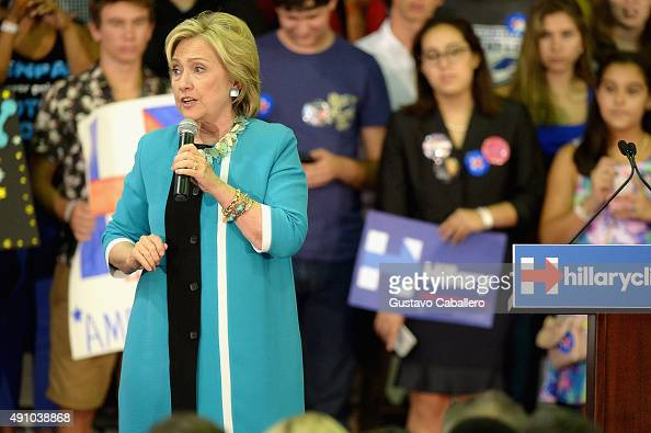 Hillary Clinton speaks at Broward College on October 2 2015 in Davie Florida