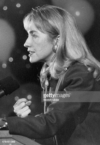 Hillary Clinton speaks at Wellesley College her alma mater in Wellesley Mass on Feb 3 1992