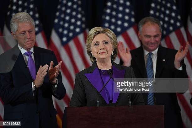 Hillary Clinton speaks during a press conference at the Wyndham New Yorker Hotel the day after the election on Wednesday November 9 2016 in New York...