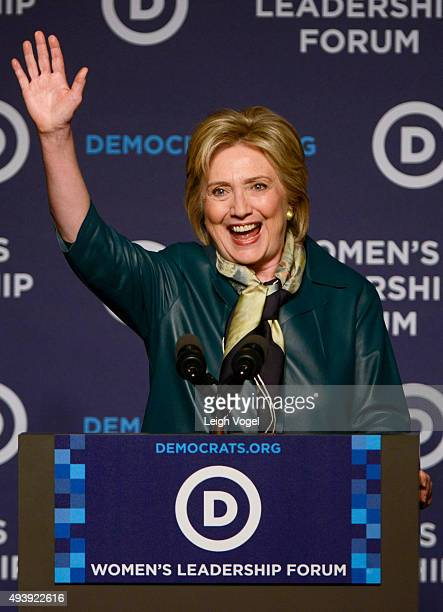 Hillary Clinton speaks during the Democratic National Committee 22nd Annual Women's Leadership Forum National Issues Conference at Grand Hyatt...