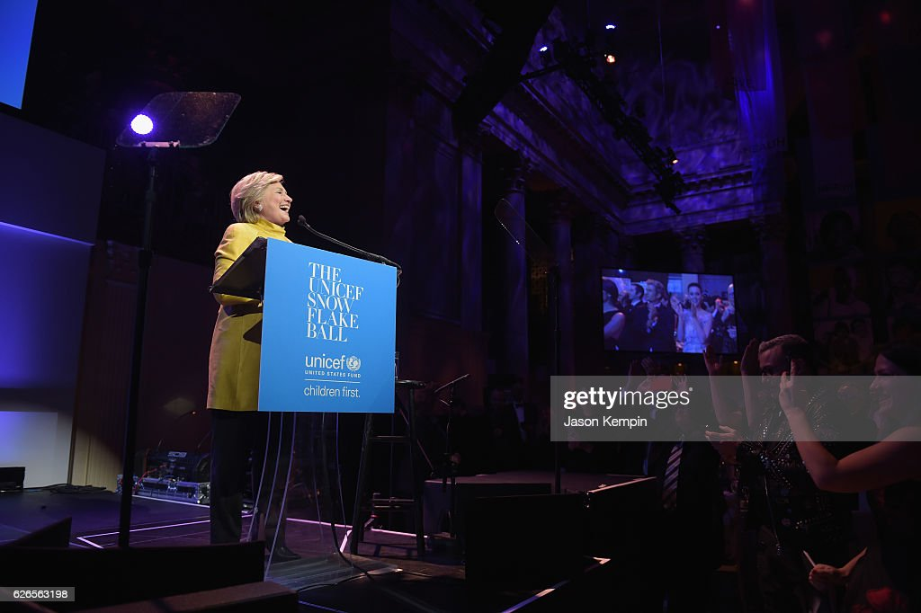 Hillary Clinton speaks on stage during the 12th annual UNICEF Snowflake Ball at Cipriani Wall Street on November 29, 2016 in New York City.