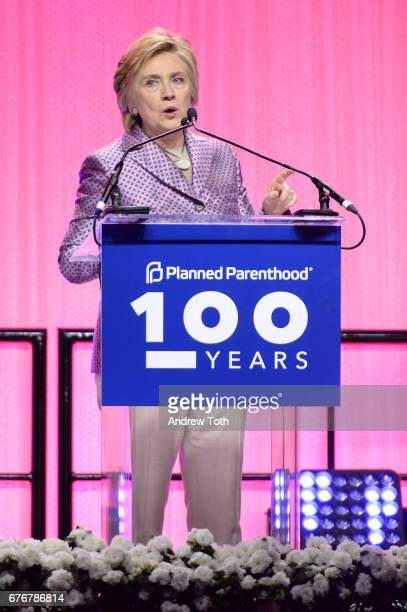 Hillary Clinton speaks onstage at the Planned Parenthood 100th Anniversary Gala at Pier 36 on May 2 2017 in New York City