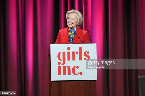 Hillary Clinton speaks onstage during the 2017 Girls Inc New York luncheon celebrating women of achievement at New York Marriott Marquis Hotel on...
