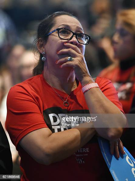 Hillary Clinton supporter Irayda Torrez reacts as she watches the presidential election swing in favor of Donald Trump at the Nevada Democratic...