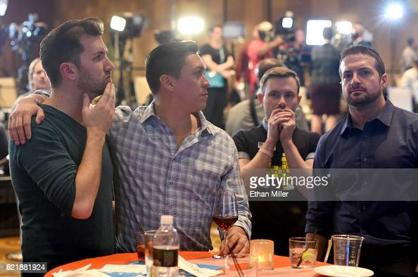 Hillary Clinton supporters react as they watch the presidential election swing in favor of Donald Trump at the Nevada Democratic Party's election...