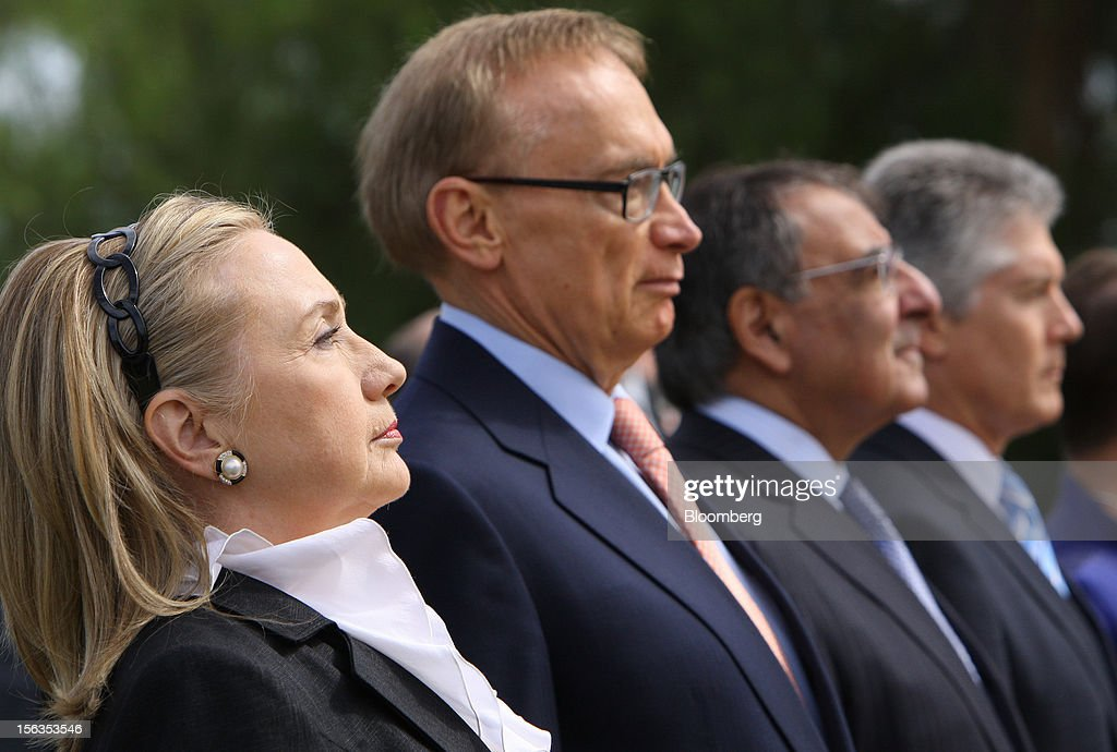 <a gi-track='captionPersonalityLinkClicked' href=/galleries/search?phrase=Hillary+Clinton&family=editorial&specificpeople=76480 ng-click='$event.stopPropagation()'>Hillary Clinton</a>, U.S. secretary of state, from left, <a gi-track='captionPersonalityLinkClicked' href=/galleries/search?phrase=Bob+Carr&family=editorial&specificpeople=209391 ng-click='$event.stopPropagation()'>Bob Carr</a>, Australia's minister of foreign affairs, Leon Panetta, U.S. secretary of defense, and Stephen Smith, Australia's minister of defense, observe a moment of silence during a wreath-laying ceremony ahead of the Australia-United States Ministerial Consultations (AUSMIN) in Perth, Australia, on Wednesday, Nov. 14, 2012. Clinton called for increased pressure on Syria and said it's 'crucial' that the international community is united to prevent Iran from acquiring nuclear weapons. Photographer: Sergio Dionisio/Bloomberg via Getty Images