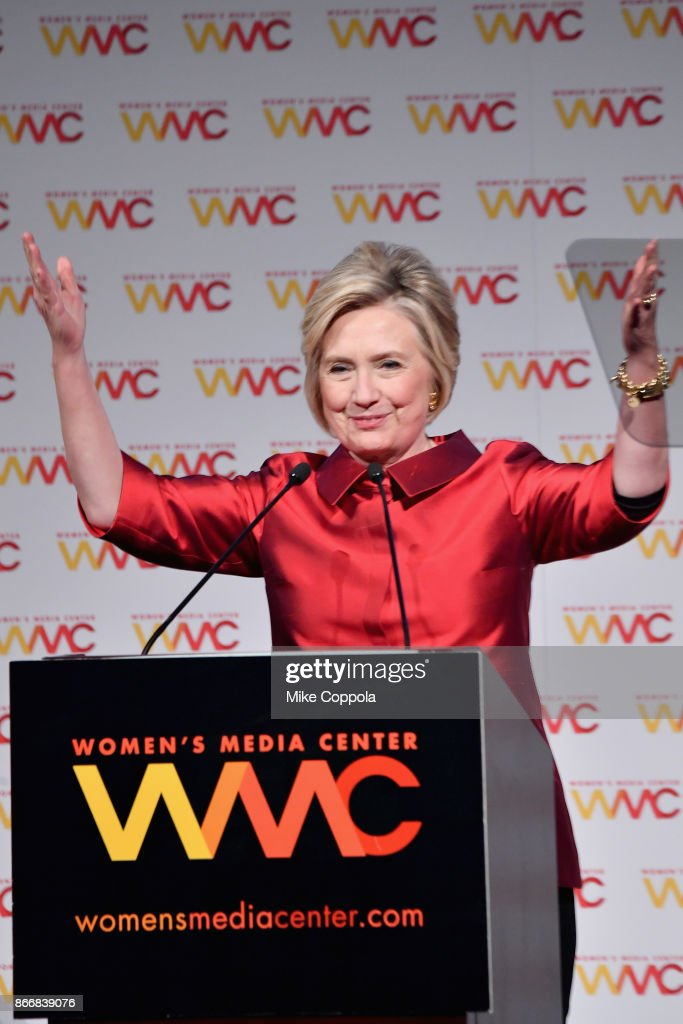 Hillary Rodham Clinton accepts the WMC Wonder Woman Award onstage at the Women's Media Center 2017 Women's Media Awards at Capitale on October 26, 2017 in New York City.