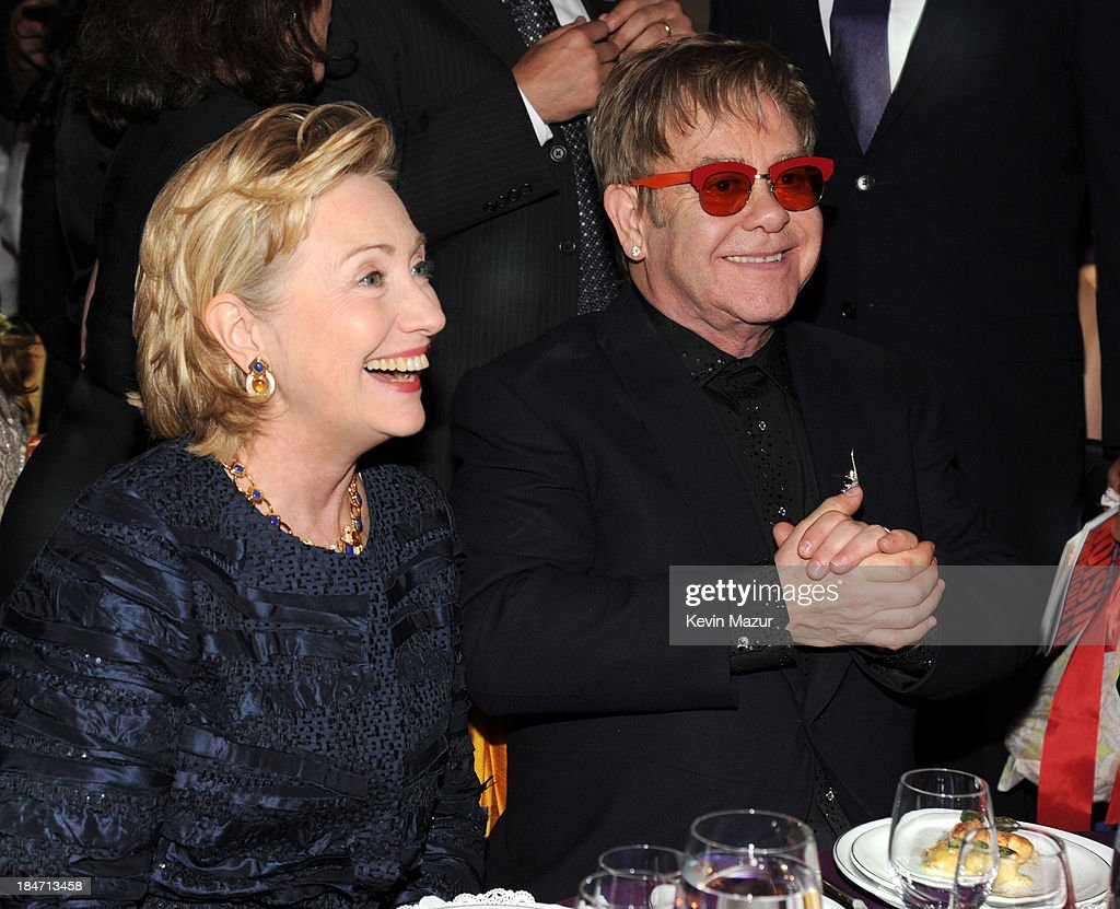 Hillary Rodham Clinton and <a gi-track='captionPersonalityLinkClicked' href=/galleries/search?phrase=Elton+John&family=editorial&specificpeople=171369 ng-click='$event.stopPropagation()'>Elton John</a> attend the <a gi-track='captionPersonalityLinkClicked' href=/galleries/search?phrase=Elton+John&family=editorial&specificpeople=171369 ng-click='$event.stopPropagation()'>Elton John</a> AIDS Foundation's 12th Annual An Enduring Vision Benefit at Cipriani Wall Street on October 15, 2013 in New York City.