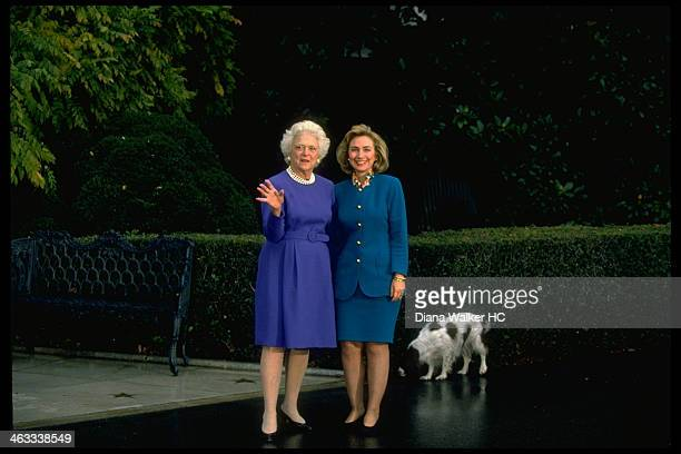 Hillary Rodham Clinton and First Lady Barbara Bush are photographed on the grounds of the White House with Mrs Bush's dog Millie for Time Life on...