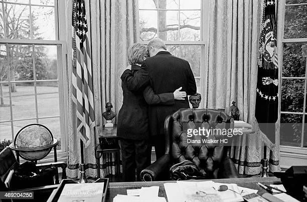 Hillary Rodham Clinton and President Bill Clinton are photographed for Time Magazine in the Oval Office on January 11 2001 in Washington DC CREDIT...