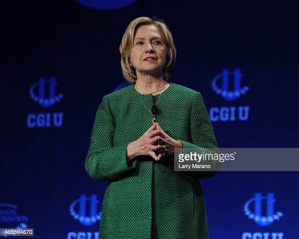 Hillary Rodham Clinton attends the Clinton Global Initiative University at University of Miami on March 7 2015 in Miami Florida
