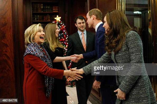 Hillary Rodham Clinton Chelsea Clinton Marc Mezvinsky Prince William Duke of Cambridge and Catherine Duchess of Cambridge attend a reception cohosted...
