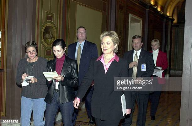 Hillary Rodham Clinton DNY makes her first trip to Capitol Hill to meet with senator Robert C Byrd DW Va Seen here leaving the senators office on the...