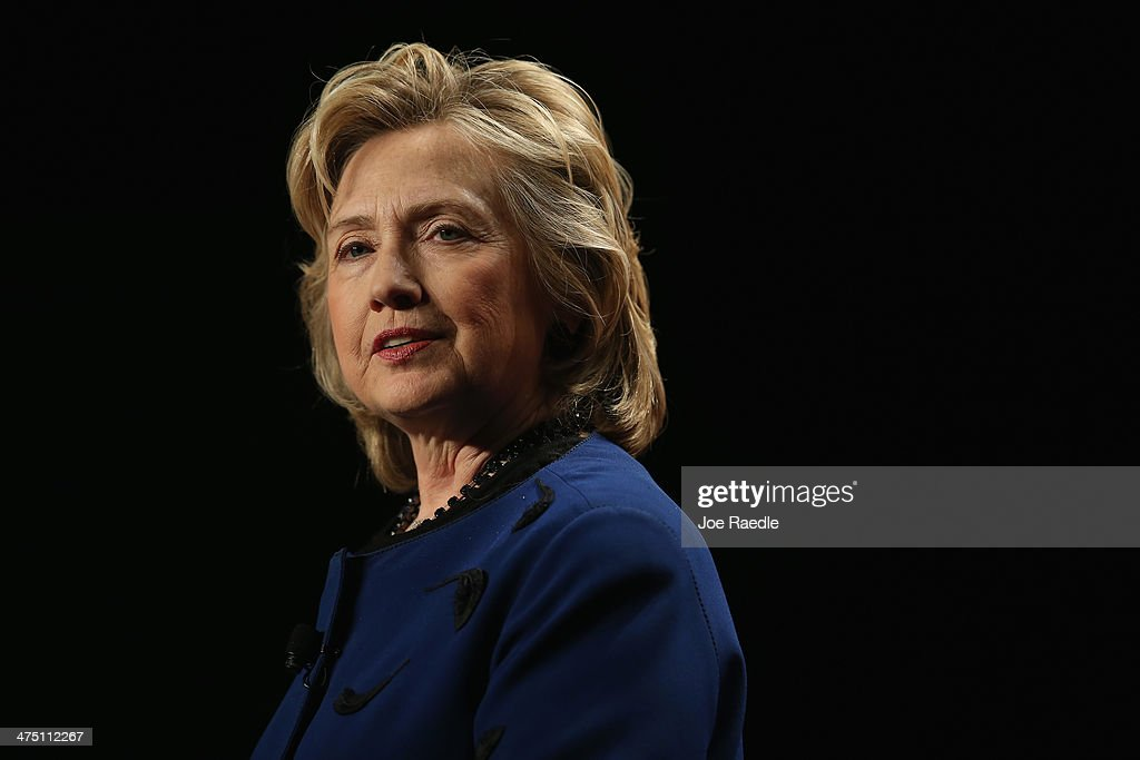 Hillary Rodham Clinton, Former Secretary of State speaks during an event at the University of Miamis BankUnited Center on February 26, 2014 in Coral Gables, Florida. Clinton is reported to be mulling a second presidential run.