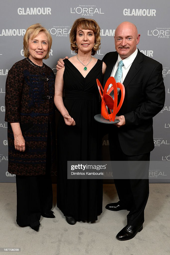 Hillary Rodham Clinton, Gabrielle Giffords and Mark Kelly attend Glamour's 23rd annual Women of the Year awards on November 11, 2013 in New York City.