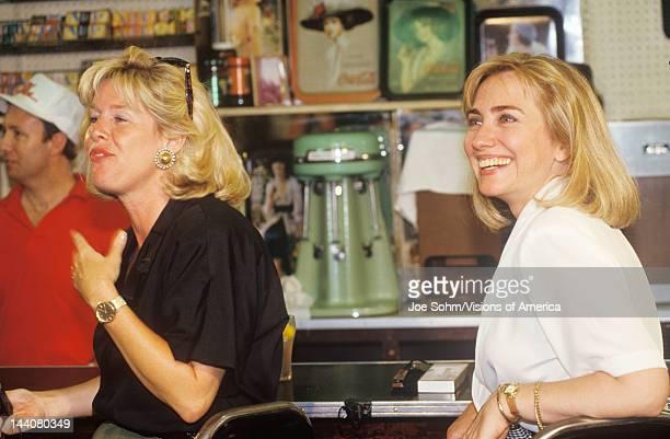 Hillary Rodham Clinton meets town's people at Dee's Restaurant during the Clinton/Gore 1992 Buscapade campaign tour in Corsicana Texas