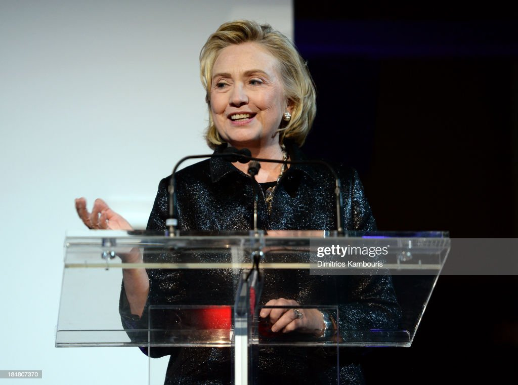 Hillary Rodham Clinton, recipient of the Michael Kors Award for Outstanding Community Service, speaks onstage at God's Love We Deliver 2013 Golden Heart Awards Celebration at Spring Studios on October 16, 2013 in New York City.