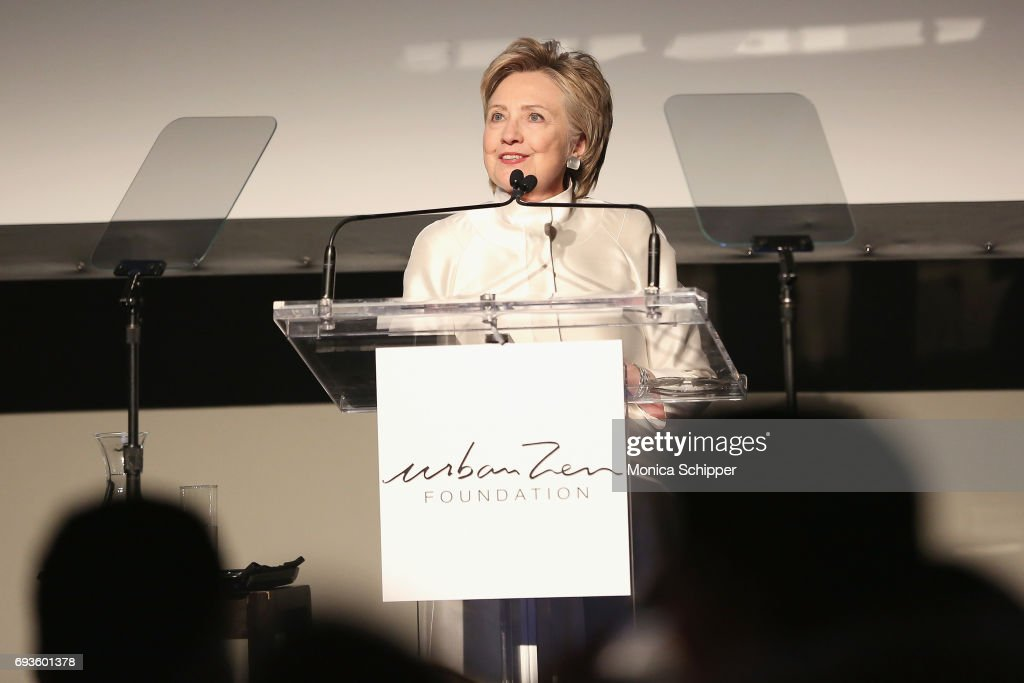 Hillary Rodham Clinton speaks at the 2017 Stephan Weiss Apple Awards on June 7, 2017 in New York City.