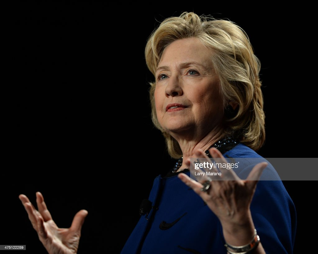 Hillary Rodham Clinton speaks at the University of Miami at Bank United Center on February 26, 2014 in Miami, Florida.