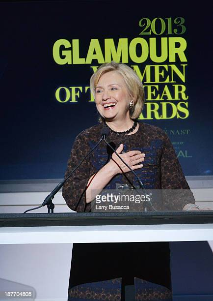Hillary Rodham Clinton speaks onstage at Glamour's 23rd annual Women of the Year awards on November 11 2013 in New York City