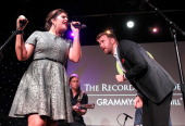 Hillary Scott and Charles Kelley of Lady Antebellum perform at the GRAMMYs On The Hill 2014 at The Hamilton on April 2 2014 in Washington DC