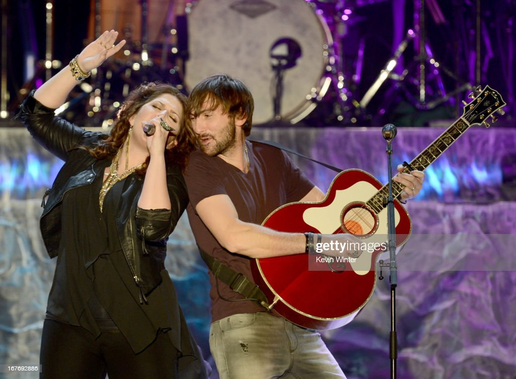 Hillary Scott and <a gi-track='captionPersonalityLinkClicked' href=/galleries/search?phrase=Dave+Haywood&family=editorial&specificpeople=4620526 ng-click='$event.stopPropagation()'>Dave Haywood</a> of Lady Antebellum performs onstage during 2013 Stagecoach: California's Country Music Festival held at The Empire Polo Club on April 27, 2013 in Indio, California.