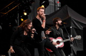 Hillary Scott Charles Kelley and Dave Haywood of Lady Antebellum perform on stage on Day 2 of Hard Rock Calling at Hyde Park on July 14 2012 in...